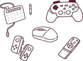 ilustração em vetor console do jogo. estilo doodle de console de jogo