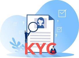 kyc ou conheça seu cliente, empresa verificando a identidade de seus clientes por meio de um ilustrador vetorial de lupa vetor
