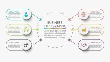 modelo de design de linha fina de círculo infográfico com 6 opções vetor