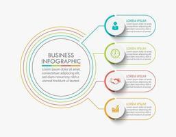 modelo de design de linha fina de círculo infográfico com 4 opções