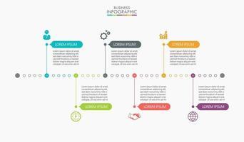 ícones de infográficos com 6 opções vetor