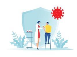 médica com seringa dá vacinações, médico de vacinação de saúde, imunização em ilustrador vetorial de clínica. vetor