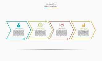 infográfico modelo de seta de linha fina com 4 opções