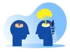 empresário rega a planta do dinheiro, pense no vetor de conceito de mentalidade de crescimento