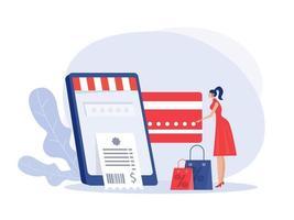 mulher segurando o cartão de crédito e o telefone e fazendo a ilustração do vetor on-line de compra.