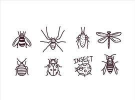 grande mão desenhada linha conjunto de insetos vetor