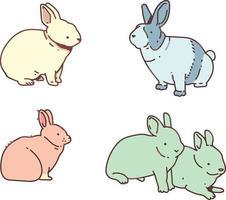 conjunto de rabiscos fofos de coelho ou coelho vetor