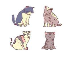 gatos engraçados desenhados à mão vetor