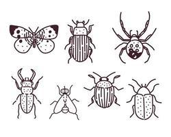 grande mão desenhada linha conjunto de insetos
