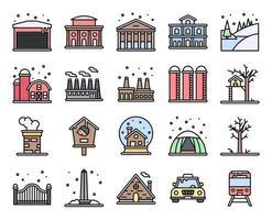 conjunto de ícones de vetor de cidade de inverno