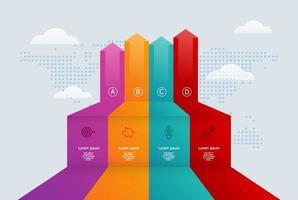 Resumo crescimento seta infográficos 4 etapas para negócios e apresentação vetor