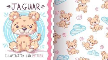 personagem de desenho animado infantil jaguar animal - padrão uniforme