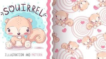 personagem de desenho animado infantil animal esquilo à terra - padrão uniforme vetor