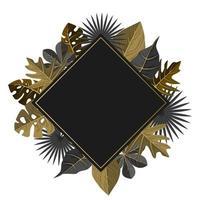 modelo de fundo de textura de madeira quadrada com borda de folha tropical vetor