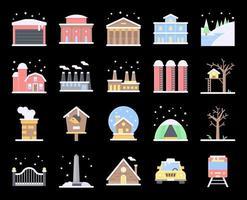 conjunto de ícones de vetor plana de cidade de inverno