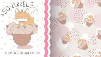 Esquilo animal fofo personagem de desenho animado com nozes vetor
