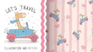 adorável personagem de desenho animado animal girafa no carro - padrão uniforme