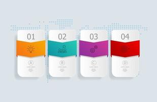 infográficos abstratos de linha do tempo horizontal, 4 etapas com mapa mundial para negócios e apresentação vetor