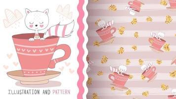 adorável personagem de desenho animado gato de estimação na xícara