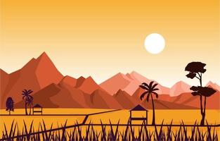 cabana em ilustração de campo de arroz asiático