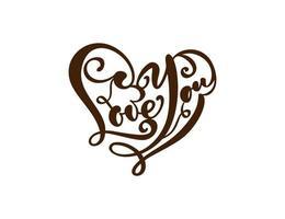manuscrita do logotipo do vetor texto vermelho corte a laser amo você e coração cartão feliz dia dos namorados, citação romântica para cartão de saudação design, tatuagem, convite de férias