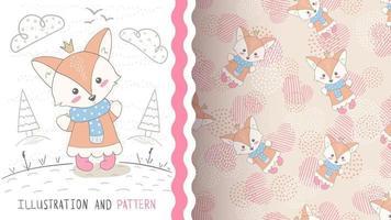 raposa animal bonito dos desenhos animados - padrão uniforme