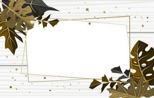 modelo de plano de fundo de textura de madeira retangular com borda de folha tropical vetor