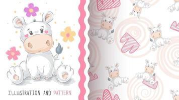 hipopótamo animal bonito dos desenhos animados - padrão uniforme vetor