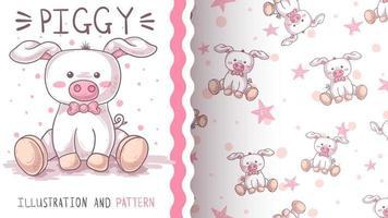 porco animal bonito personagem de desenho animado - padrão sem emenda