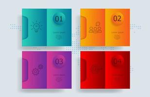 infográficos abstratos, 4 etapas com mapa mundial para negócios e apresentação vetor