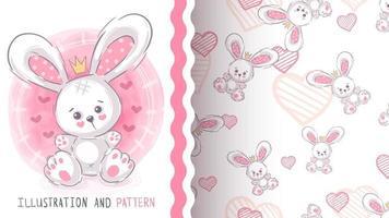 coelho animal de personagem de desenho animado infantil - padrão uniforme