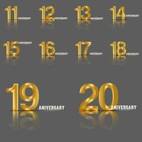 ano aniversário definir ilustração de design de modelo vetorial vetor