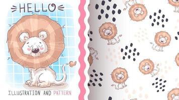 leão animal fofo personagem de desenho animado vetor