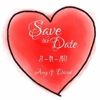 Coração de aguarela para salvar o convite de data vetor