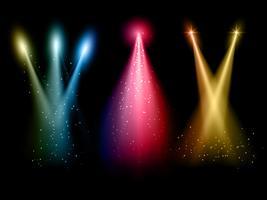 Vários holofotes coloridos vetor