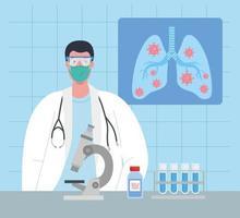 pesquisa de vacina médica para coronavírus com médico em laboratório vetor