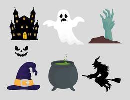 feliz dia das bruxas conjunto de ícones vetor