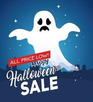 banner feliz halloween com fantasma voando vetor