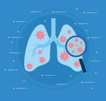 pulmões infectados com covid19 e lupa vetor
