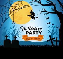banner feliz dia das bruxas com cemitério à noite vetor