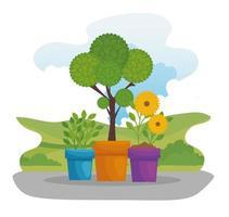 vasos de plantas ao ar livre vetor