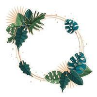modelo de fundo circular com moldura de folhas tropicais verdes vetor