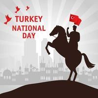 29 de outubro, dia da república turca com o homem em um cavalo com bandeira vetor