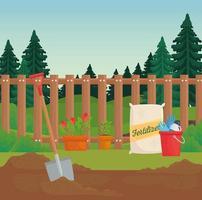 desenho vetorial de materiais de jardinagem vetor