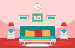interior aconchegante do quarto com cama de casal e lâmpadas vetor
