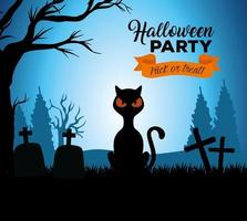 banner feliz halloween com gato preto no cemitério vetor