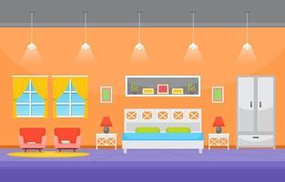 interior aconchegante do quarto com cama de casal, luminárias e prateleiras