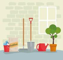 ferramentas e suprimentos de jardinagem vetor