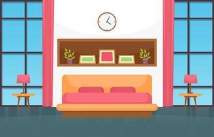 interior aconchegante do quarto com cama de casal, lâmpadas e janelas