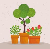 vasos de plantas fofas vetor